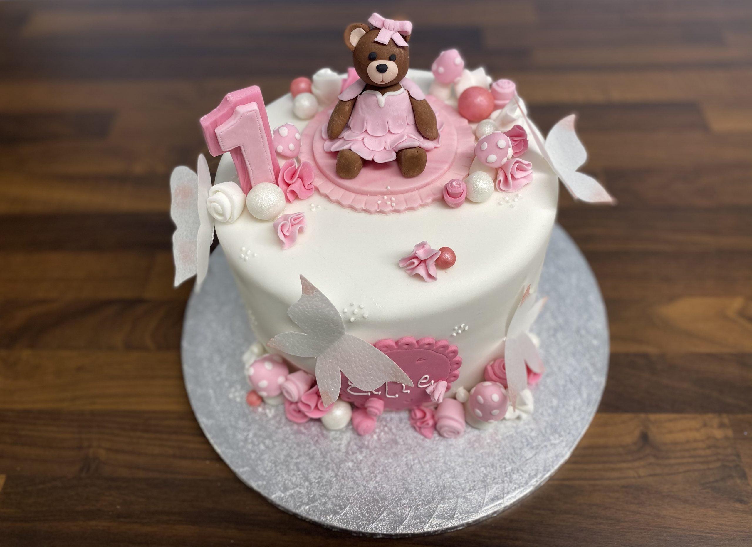 Cute teddy bear 1st Birthday Cake - Leeds Cakes