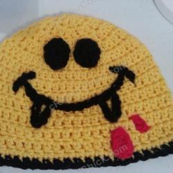 02d571948ea Vampire Smiley Face Beanie Hat Crochet Pattern Crafterchick