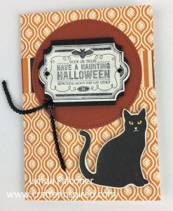 Halloween card by Lynda Falconer, Independent Stampin' Up Demonstrator at www.lyndafalconer.stampinup.net using Everyday Label Punch #144668 and Labels to Love Stamp Set #144967