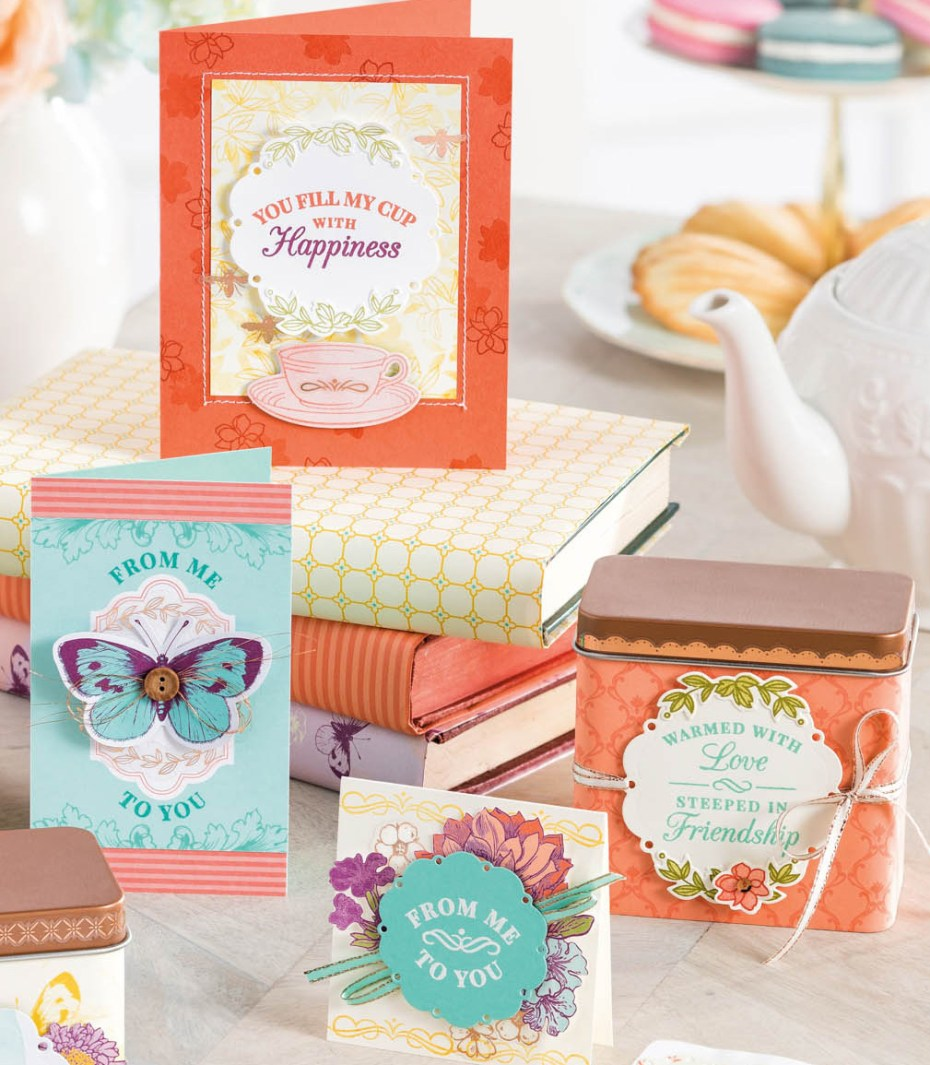 Meet the Suites! Cards and Paper Projects using Time for Tea Bundle #148410 at www.lyndafalconer.stampinup.net
