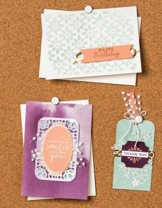 Cards and bookmark made with products from the Delightfully Detailed Suite at www.lyndafalconer.stampinup.net
