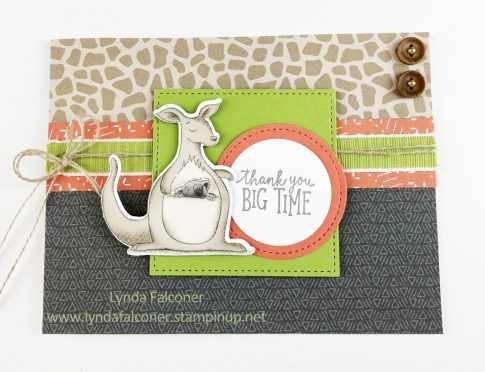 Animal Expedition Designer Paper is the star of this thank you card by Lynda Falconer at www.lyndafalconer.stampinup.net