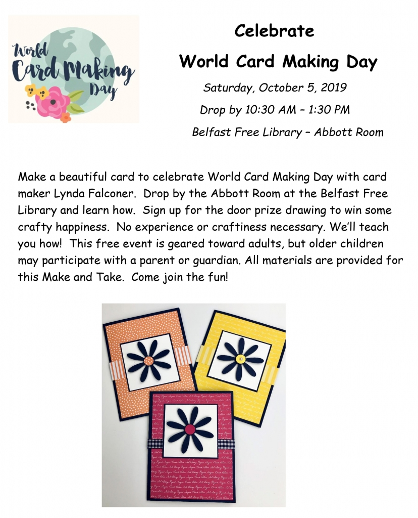 World Card Making Event Oct. 5, 2015 Make and Take with Lynda Falconer at Belfast Free Library, Belfast, ME