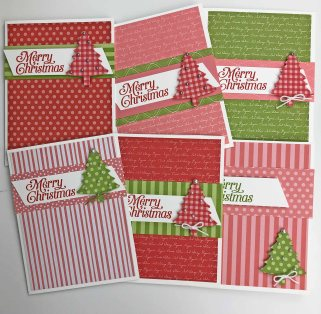 Think pink! Beautiful Christmas cards out of pink and green by lynda@crafterinspired.com