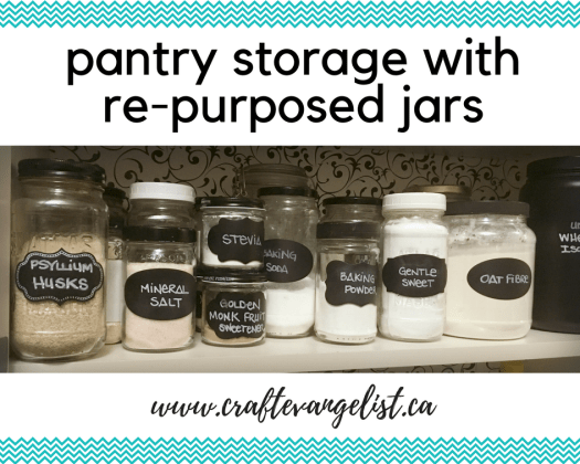 Re-purpose glass jars for pantry storage!