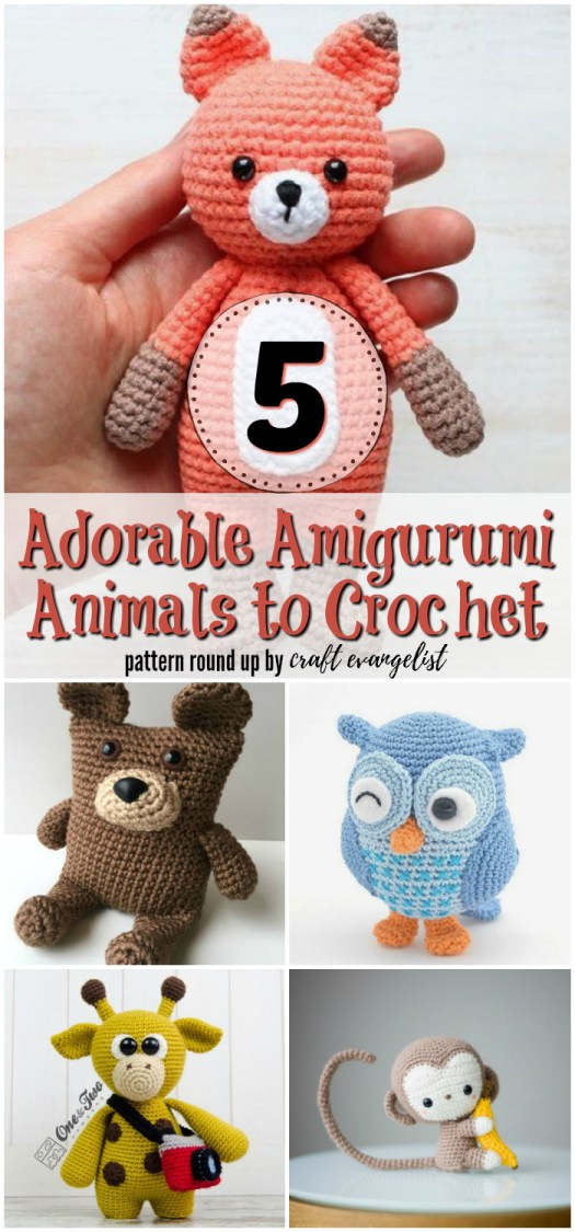 5 Adorable Amigurumi Animals to Crochet. A crochet pattern round up by craft evangelist