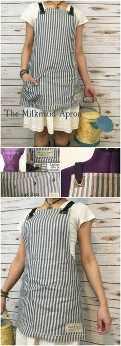 The Milkmaid Apron. Great all-purpose linen apron for gardening, collecting eggs from chickens. Vintage cross back linen apron with deep pockets. Check out all of craft evangelist's mother's day gift suggestions.