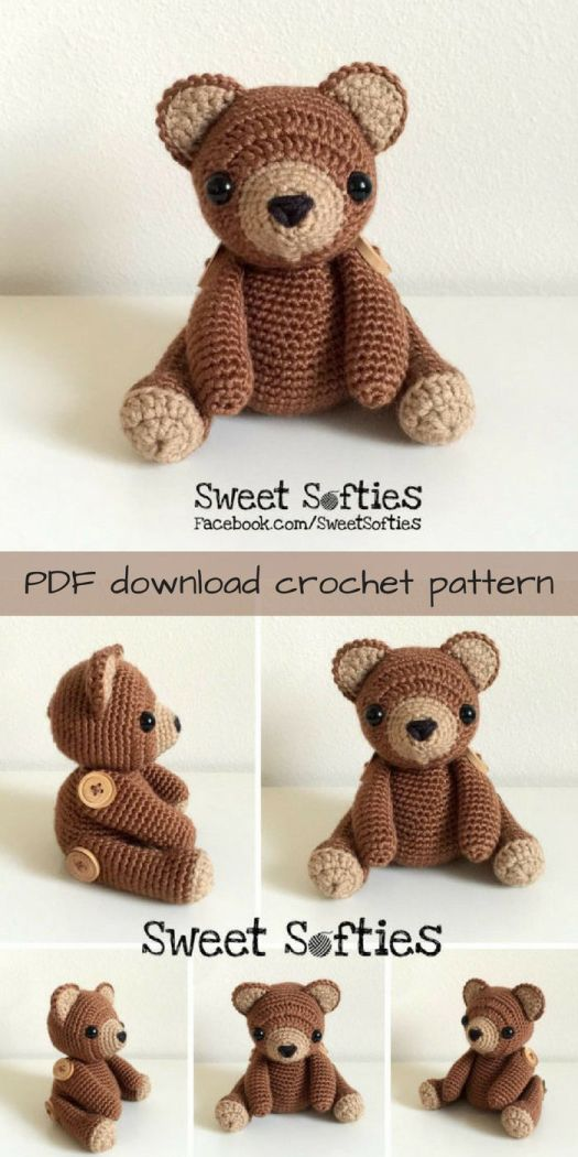 What an adorable crochet teddy bear pattern! I love the buttons attaching his arms and legs! So cute! What a lovely amigurumi toy to crochet!