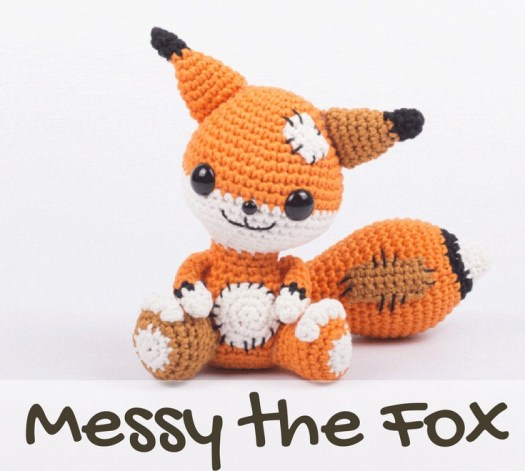 Cute messy stuffed fox pattern from Etsy