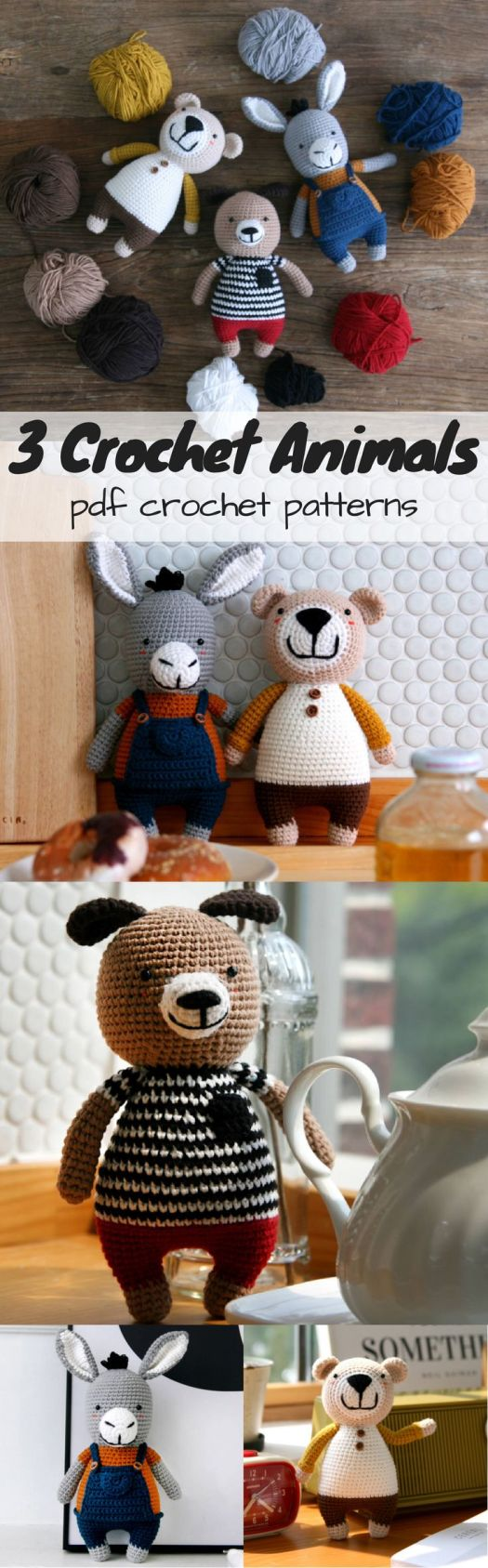 Make 3 sweet little stuffed animals with 1 pattern! Cute bear, donkey and dog amigurumi crochet toy patterns to DIY! Love the beautiful step-by-step pattern for these lovely animal dolls.