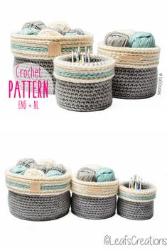 Sturdy crochet basket pattern with a fold-over edge in three sizes. Perfect for storing yarn and knitting and crochet supplies or organizing other odds & ends. Check out all of craft evangelist's mother's day gift suggestions.