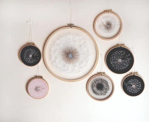 So cool! These dandelion embroidery hoop art pieces are amazing! Great mother's day gift idea!
