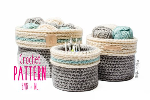 Sturdy crochet basket pattern with a fold-over edge in three sizes. Perfect for storing yarn and knitting and crochet supplies or organizing other odds & ends