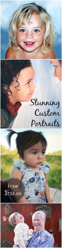 Wow! This artist does amazing work! Custom portraits from just $135.00! This would make such a lovely mother's day gift for my mom! She'd love to have a painting of my kids! Check out all of craft evangelist's mother's day gift ideas.