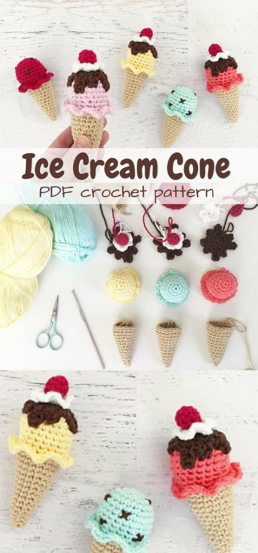 What an adorable Ice Cream Cone crochet pattern! Perfect play food amigurumi to make for any kid! Such a sweet handmade gift idea!