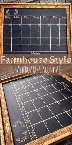 This farmhouse style chalkboard calendar would look so great in our family organization hub! I love the chalkboard idea... start fresh each month!