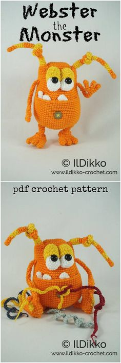 What an adorable goofy monster amigurumi pattern! I love crocheted stuffed toy patterns like this! This designer's creatures have such character! Check out all of craft evangelist's DIY toy finds!