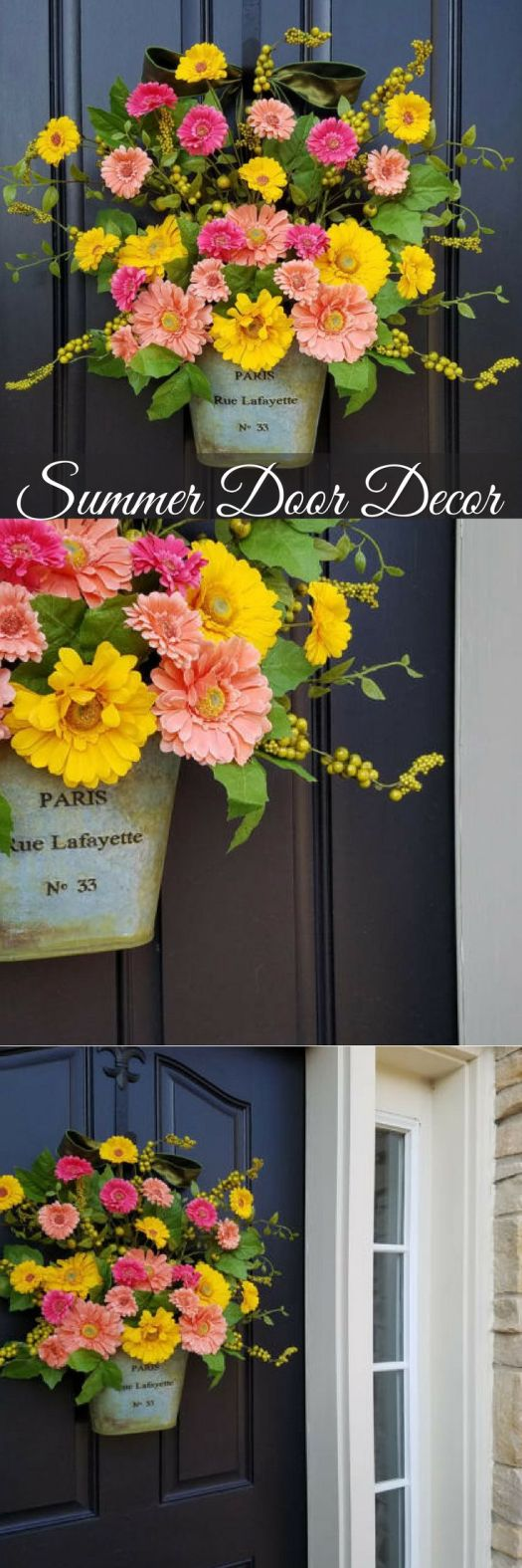 I love this idea for summer door decor in place of a wreath... a bouquet of flowers for your front door! So pretty! I love Gerber daisies! So pretty... Check out all of the wreaths that craft evangelist found for every month of the year!