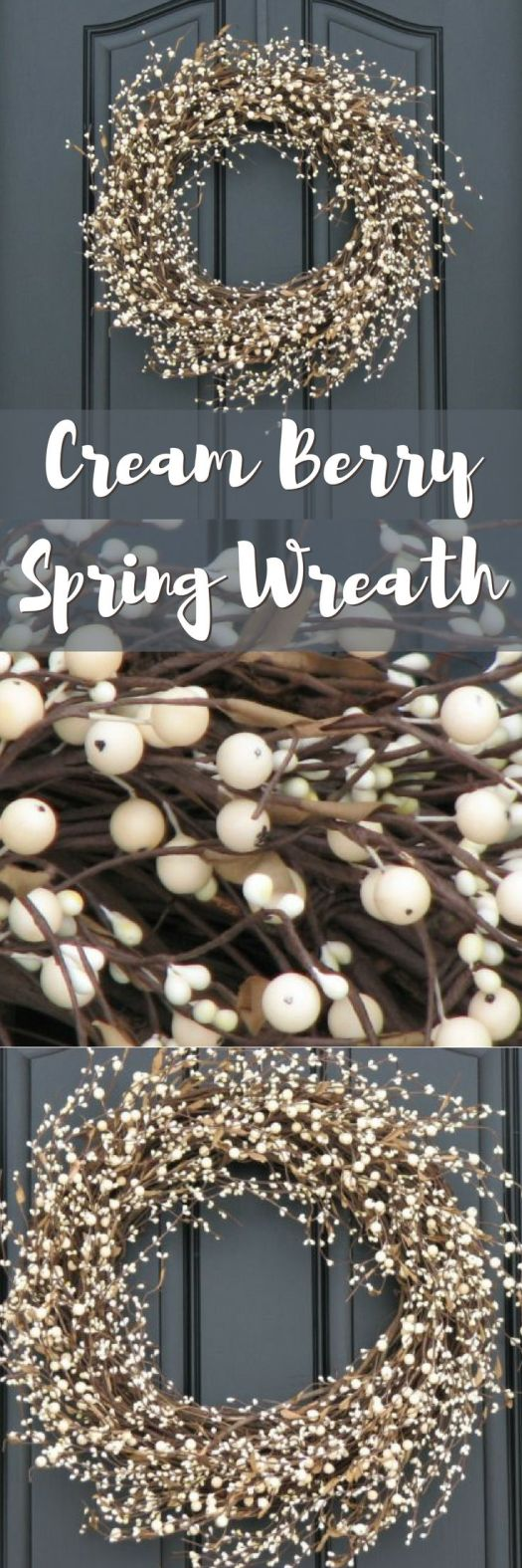 I love this gorgeous, simple spring wreath with the lovely cream colored berries! Perfect for late winter or early spring before the leaves have come out yet! This would look great on our front door! Check out all of craft evangelist's beautiful wreath finds!