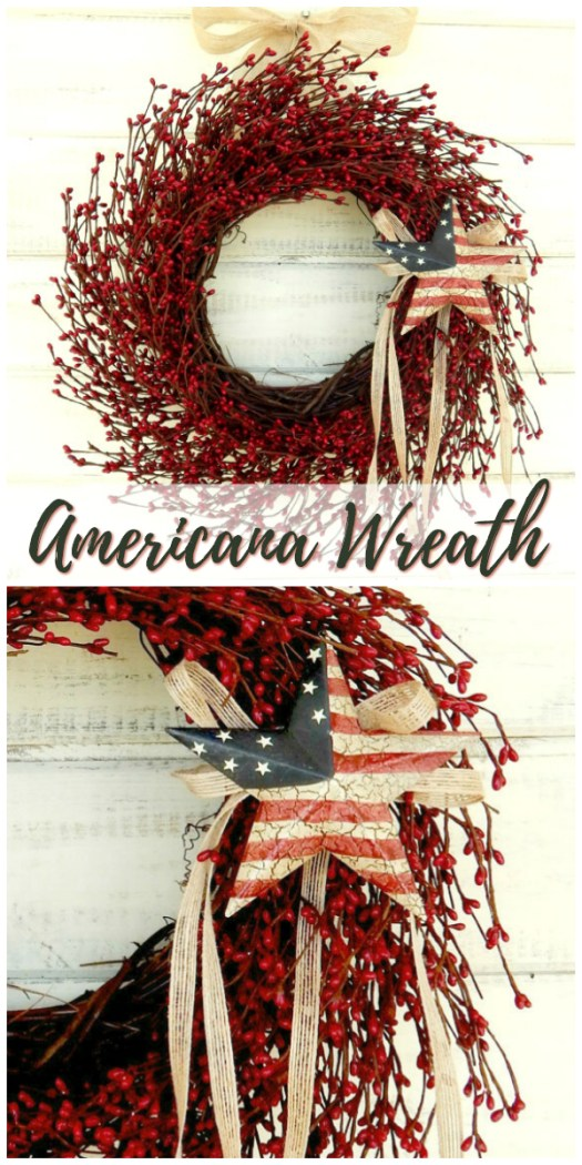 Super classic Americana wreath for 4th of July decorating ideas. I love the classic look of this military inspired Independence Day wreath! Check out all of craft evangelist's wreath finds for every month of the year!