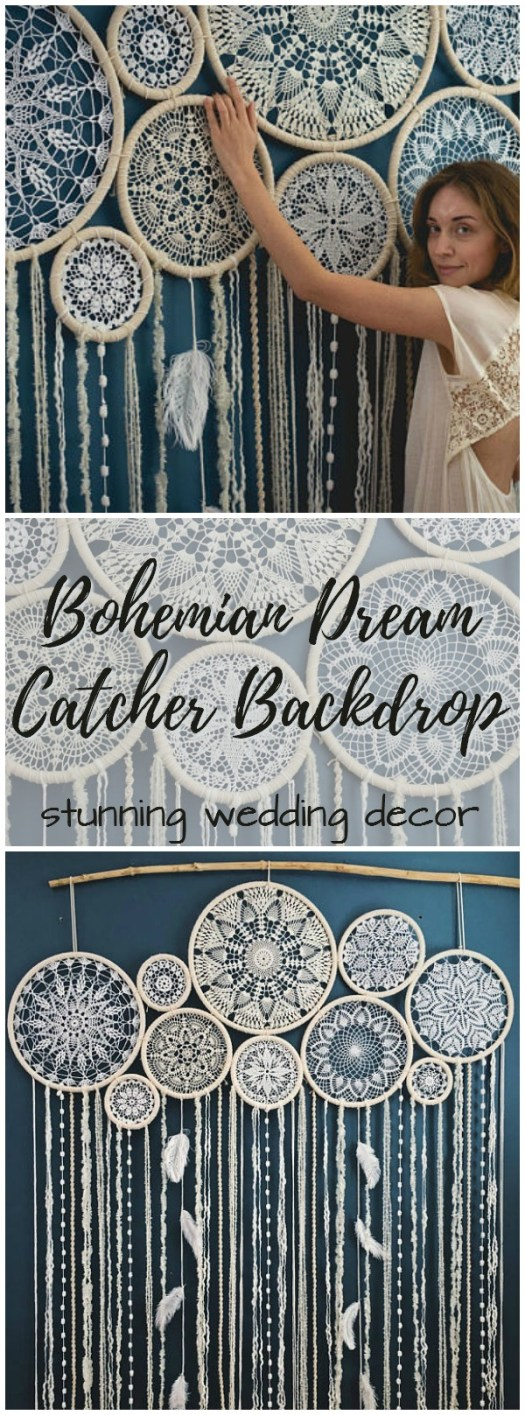 Check out this gorgeous giant bohemian dream catcher backdrop that would be perfect for wedding decor and then you could put it in your bohemian bedroom! So stunningly beautiful!