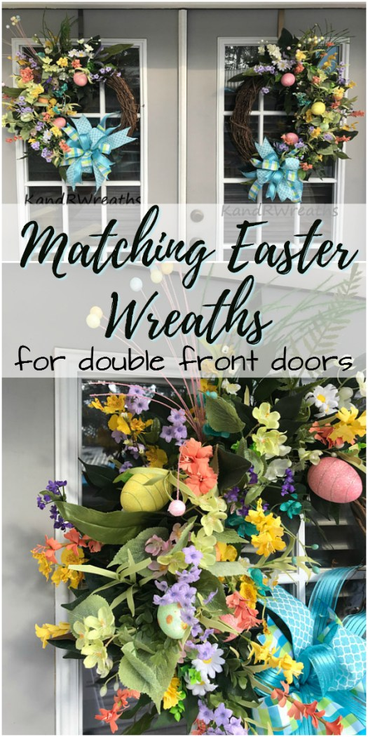 Big, bright matching Easter wreaths, perfect for double front doors like mine! Check out all of craft evangelist's wreath finds for every month of the year!