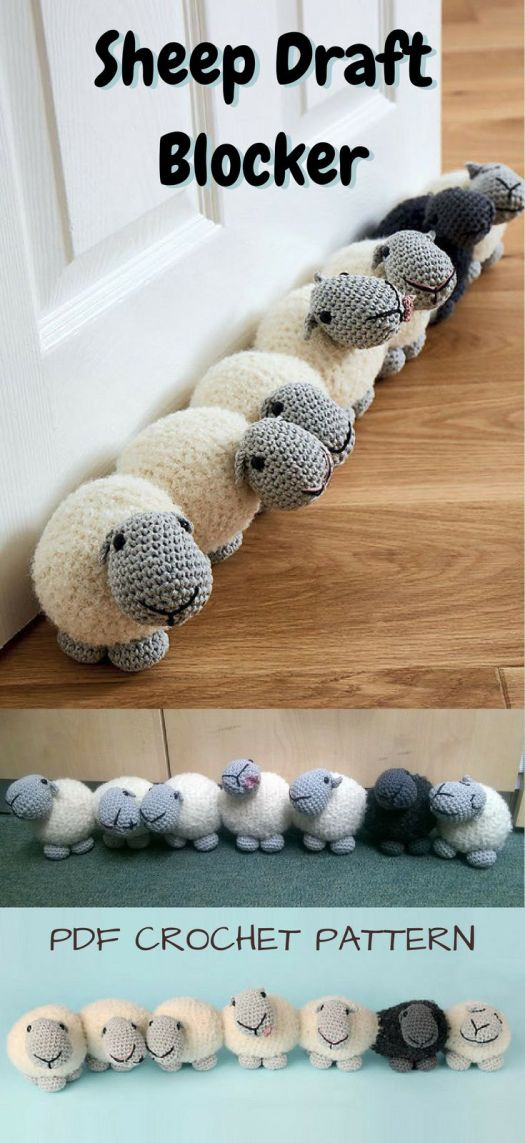 Crochet Pattern for Adorable Sheep Draft Blocker Door Stop! Warm up your house with this cute row of sheep keeping the cold out!