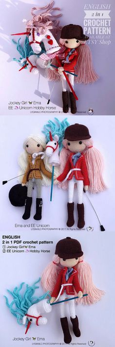 Gorgeous detail on this crocheted doll pattern with her little hobby horse unicorn! Lovely amigurumi doll to make! I love the stunning detail on this designer's patterns! So many other cute dolls to make, too! Check out all of craft evangelist's DIY toy finds!