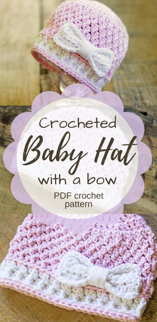 Cute pattern for a crocheted baby hat with a bow. Would be adorable on a new baby girl! Love the stitch pattern and the bow detail! Check out all of craft evangelist's baby pattern finds!