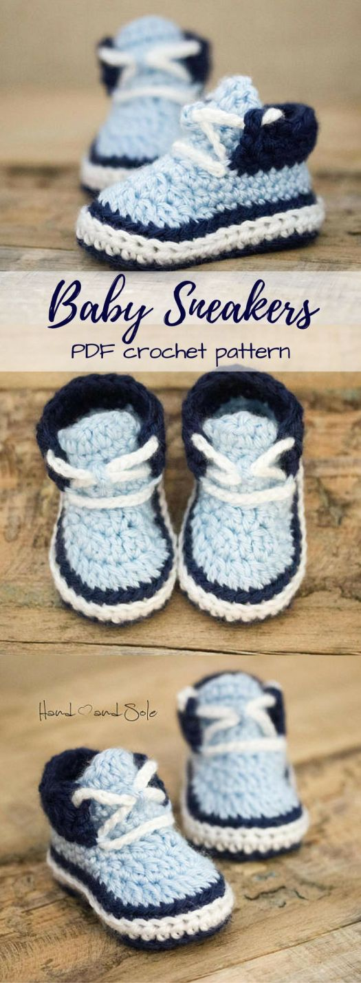 Adorable baby slipper pattern that looks like little sneakers! So cute! pdf crochet pattern to instantly download for a last minute project!  Check out all of craft evangelist's baby pattern finds!