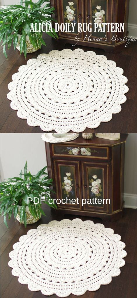 Alicia Doily Rug Crochet Pattern. Perfect farmhouse style crochet pattern to make your own bath mat. How cute is this? #crochetpattern #crochetbathmat #crochetrug #crochetdoilyrug #doilyrug #craftevangelist