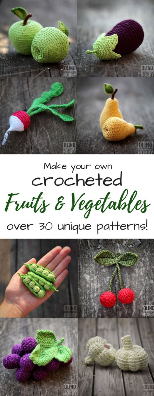What stunning detail on these crocheted amigurumi fruits and vegetables! Excellent play food to make for a kid's play kitchen! So gorgeous! They look good enough to eat!