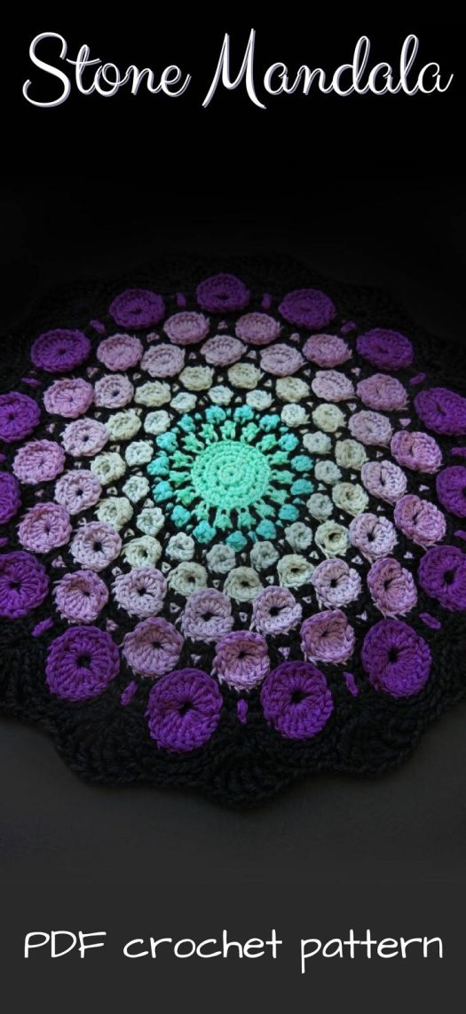Stone Mandala crochet pattern. Sweet handmade housewarming gift. Would make a good wall hanging or doily. This is stunning!