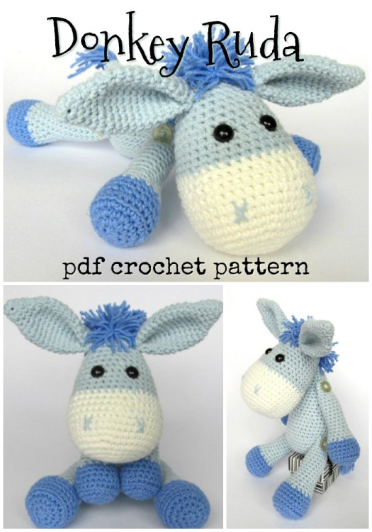 The most adorable donkey crochet amigurumi pattern! I love the arms and legs attached with buttons. Perfect handmade gift idea for any child! #craftevangelist