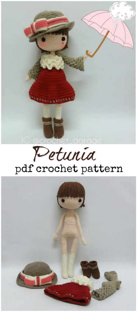 Check out this gorgeous crochet pattern for Petunia and her lovely accessories! Lovely crochet doll pattern! #craftevangelist