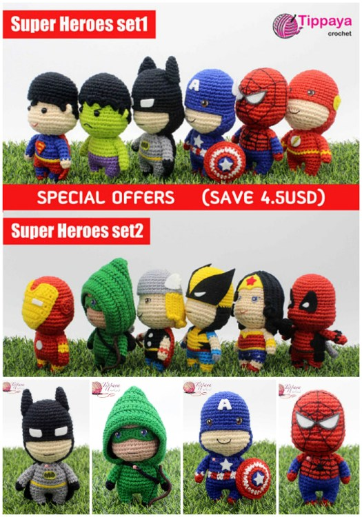 Check out the great deal on this adorable superhero amigurumi crochet pattern bundle! Love these cute little stuffed heroes! found by #craftevangelist