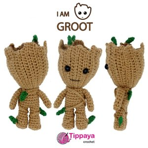 SnugglyFoxDesigns : Free Crochet Baby Groot pattern (MODs) | 300x300