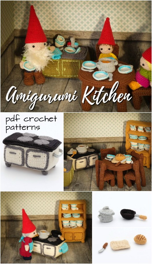 Super cute kitchen amigurumi crochet pattern for a doll house. This pattern creator also has an adorable gnome family too! So sweet. Part of #craftevangelist's top 10 summer Etsy picks!