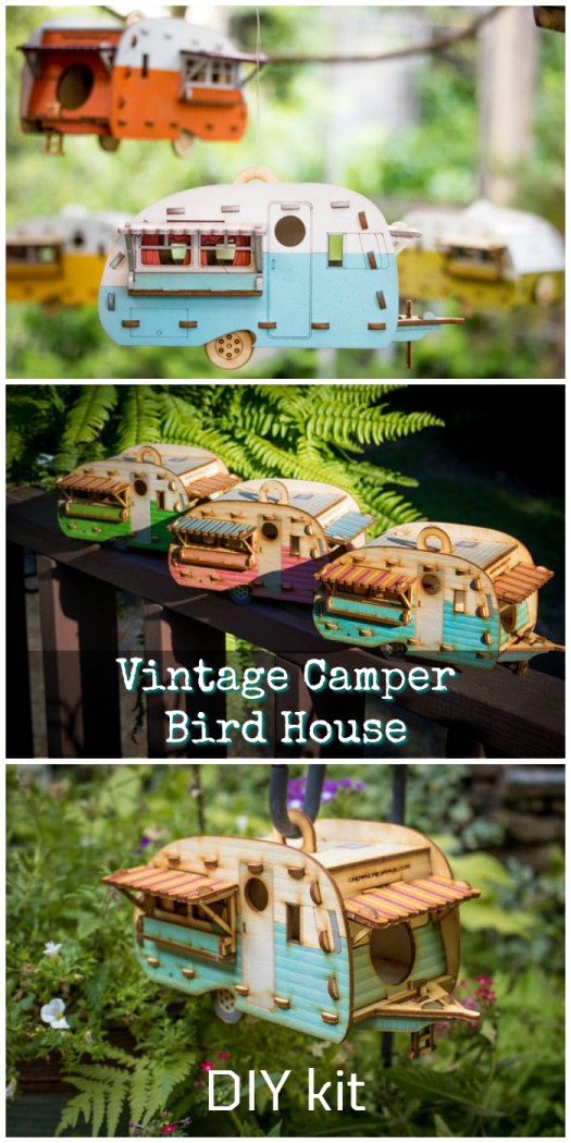 ADORABLE DIY Vintage Camper Bird House kit! I love this! It's so cute! I want one for the deck! Great find by #craftevangelist