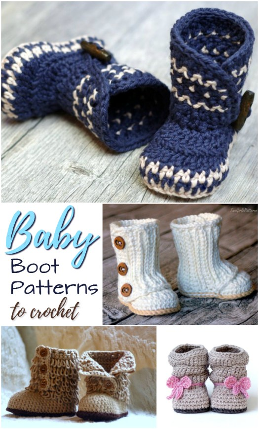 Adorable baby boot patterns to crochet! Perfect little slippers for the newborn, infant or toddler in your life! These would make a perfect handmade baby shower gift for a new mom! #babybooties #slippers #crochet #patterns #pdf #craftevangelist