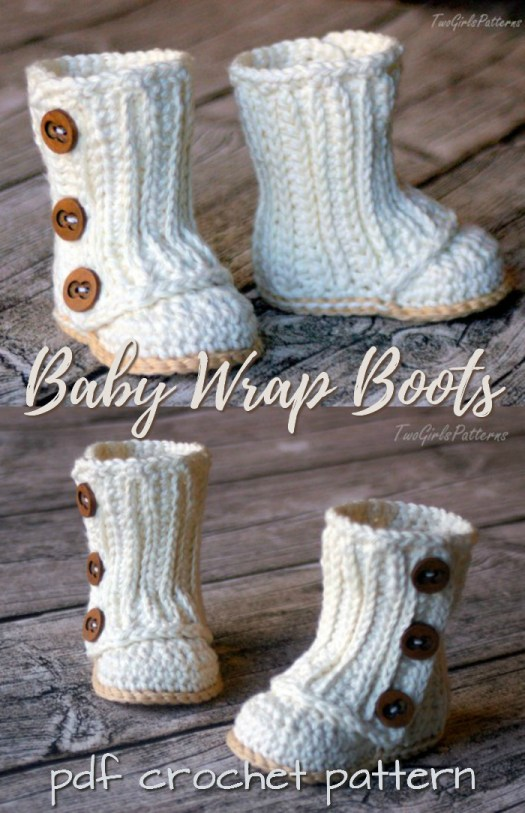 Such sweet Baby Wrap Boots crochet pattern from Two Girls Patterns! I love the sweet buttons! This looks like a great crochet baby booties pattern! Great handmade baby shower gift! #crochet #pattern #pdf #baby #booties #babyshower #gift #handmade #crafts #craftevangelist