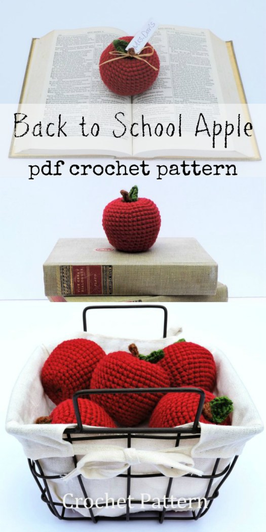 Cute little crochet pattern for this stuffed apple amigurumi. Perfect little back to school reminder or play food for kids! #craftevangelist