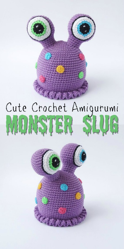 This is the only slug I remotely like! Cute amigurumi monster slug crochet pattern! If only the slugs in my garden were this adorable! Part of an awesome monster pattern round up by #craftevangelist