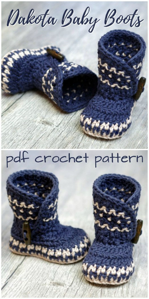 Gorgeous Dakota Baby Boots crochet baby slipper pattern! Love this gorgeous design! A Nordic-inspired baby booties pattern! #crochet #pattern #babyboots #slippers #winter