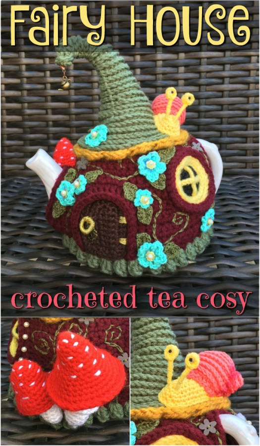 Wow! What an adorable crocheted tea cosy! There's a link to a tutorial for how to make it and where to get all the little trinkets. Super cute project from #craftevangelist #teacosy #fairyhouse #crochet #pattern #diy #crafts #toadstools #yarn