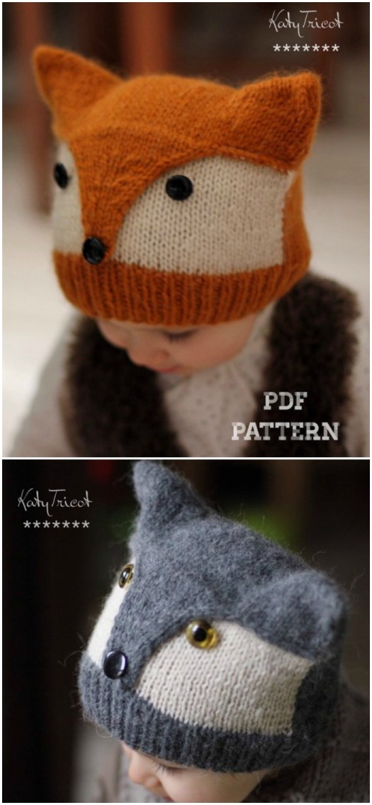 Love this adorable knit fox hat! Such a sweet hat for little ones! Check out the other adorable little costume hats found by #craftevangelist #crafts #knit #hat #pattern #yarn #DIY #knitting #foxes #wolves