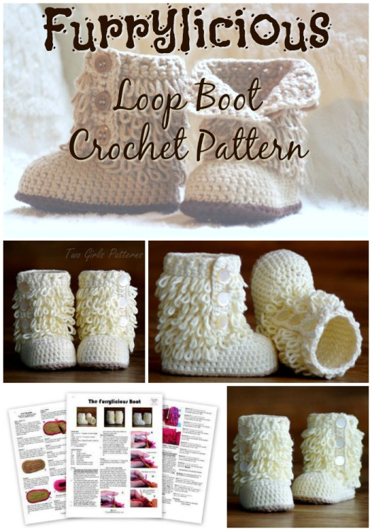 Fun loopy furrylicious baby boot crochet pattern! Looks like a gorgeous moccasin pattern! Super sweet slippers for an infant! Great handmade baby shower gift! #crochet #pattern #baby #booties #moccasins #handmadegifts #craftevangelist