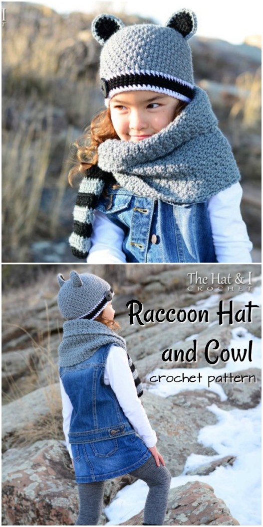 Such a sweet crochet pattern for a raccoon inspired hat & cowl! A unique and adorable little set, a perfect fall handmade gift! #craftevangelist