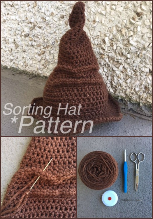 Love this fun and easy to crochet Harry Potter Sorting Hat crochet pattern! Perfect simple Halloween costume or gift for your favourite Potterhead! #HarryPotter #crochet #crochetpattern #SortingHat #pattern #craftevangelist