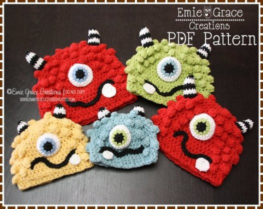 Check out this adorable monster hat crochet pattern! Perfect to keep your little monsters warm for Halloween! Love this collection of great costume hats by #craftevangelist #crochet #hat #handmade #pattern #monsters #crafts #DIY #yarn